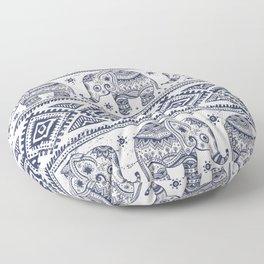 Vintage graphic vector Indian lotus ethnic elephant Floor Pillow