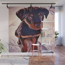 Rottweiler Puppy Born To Be Wild Wall Mural