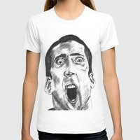 nicolas cage T-shirts featuring NICOLAS CAGE in CHARCOAL face/off face off film movie cult by Radiopeach