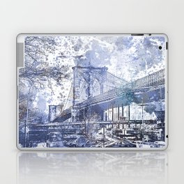 Brooklyn Bridge New York USA Watercolor blue Illustration Laptop & iPad Skin