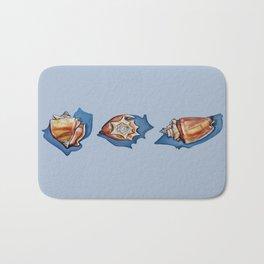 Three Seashells in Blue Bath Mat