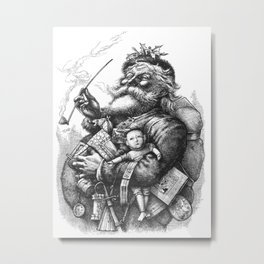 Vintage Illustration Of Santa Claus  Metal Print