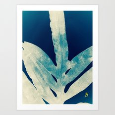Green Fern at Midnight Bright, Navy Blue Art Print