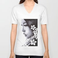 sakura V-neck T-shirts featuring Sakura by Nester Formentera