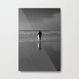Blacks Beach Surfer Reflection Metal Print