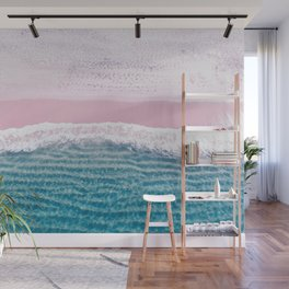 Pink sand turquoise sea Wall Mural