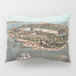 Vintage Pictorial Map of Fort Monroe Virginia Pillow Sham
