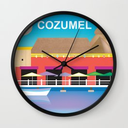 Cozumel, Mexico - Skyline Illustration by Loose Petals Wall Clock