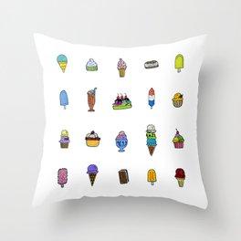 Ice Cream Truck Collage Throw Pillow
