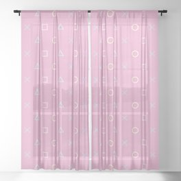 Gamer Girl - Pastel Playstation Controller Buttons Sheer Curtain