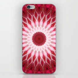 Detailed mandala in red and white colors iPhone Skin