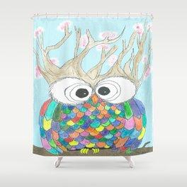 Blossom Tree Owl Shower Curtain