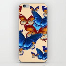 #2 MODERN ART DECORATIVE BLUE-BROWN  BUTTERFLIES iPhone Skin