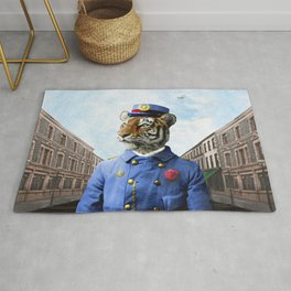 Postmaster Trenton Tigre on his Appointed Rounds Rug