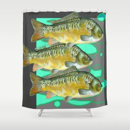 SCHOOL OF GREENISH-YELLOW FISH  IN GREY ART Shower Curtain