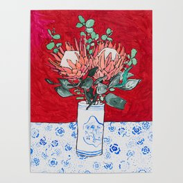 Delft Bird Vase of Proteas on Red Poster