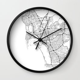 Minimal City Maps - Map Of San Diego, California, United States Wall Clock