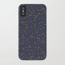 Speckles I: Dark Gold on Blue Vortex iPhone Case