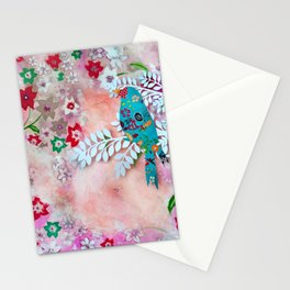Little bird on branch Stationery Cards