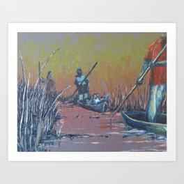 Sunset on the Okavango: Mokoro Drive Art Print