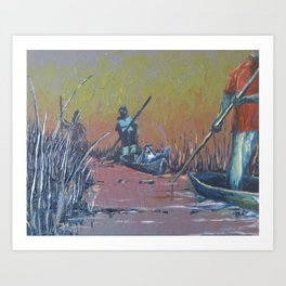 Sunset on the Okavango: Mokoro Drive Art Print