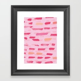 pink brush strokes Framed Art Print