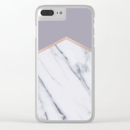 Smokey lilac - rose gold geometric marble Clear iPhone Case