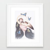 crow Framed Art Prints featuring Crow by Drawings by LAM