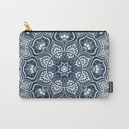 Mandala, Bohemian, Tribal, Ethnic, Navy and White Carry-All Pouch