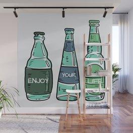Enjoy - Vintage Bottles Typography Wall Mural
