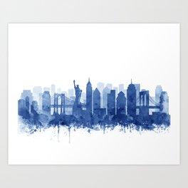 New York Cit Skyline Blue Watercolor by Zouzounio Art Art Print