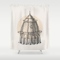 steam punk Shower Curtains featuring Steam punk rocket by grop