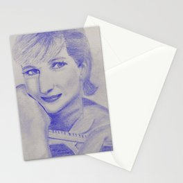 Modern woman in blue Stationery Cards