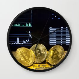 Bitcoin trio circuit market charts clean Wall Clock