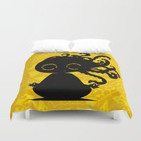 yoga Duvet Covers featuring Yoga by BLOOP