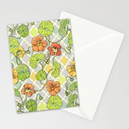 Climbing Nasturtiums in Lemon, Lime and Tangerine Stationery Cards