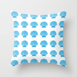 Blue Seashell Throw Pillow