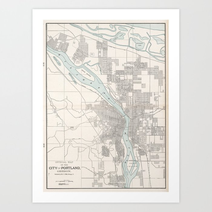 Vintage Map of Portland Oregon (1901) Art Print by bravuramedia ...
