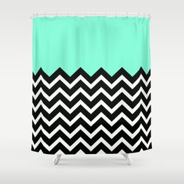 Tiffany Pastel Chevron Print Shower Curtain