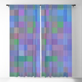 geometric square pixel pattern abstract in purple blue pink Blackout Curtain