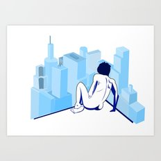 Me against the city Art Print