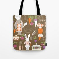 chef Tote Bags featuring Rabbit Chef by Lara Lockwood