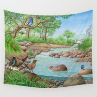 river Wall Tapestries featuring  river  by Amy Fan