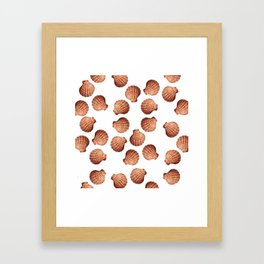 White big Clam pattern Illustration design Framed Art Print