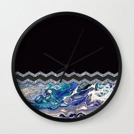 BLUE OCEAN MINIMAL LIQUID PAINTING Wall Clock