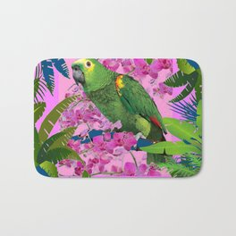 TROPICAL GREEN PARROT JUNGLE ART  ART DESIGN Bath Mat