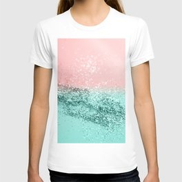 Summer Vibes Glitter #4 #coral #mint #shiny #decor #art #society6 T-shirt