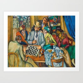 Chess Players, Paris, France, French Cafes, Left Bank, 1913 by Henryk Hayden Art Print