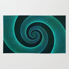 Magical Teal Green Spiral Design Rug
