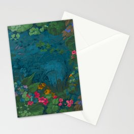Paper Repeating Pattern - 1860 Fantasy Floral Pond Luxury Romantic Leaves Stationery Cards